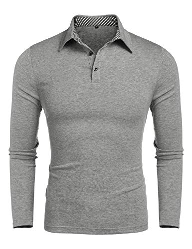 Mens Casual Active Wear Dry Fit Golf Polo Shirts Slim Fit Long Sleeve Polo T Shirt Grey ()