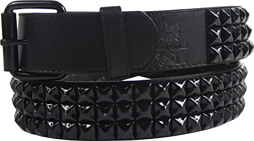Black 3 row pyramid studded leather belt W/ black studs, Size: Large (37-41), Color: Black 3 Row - Stud Studded Black Belt