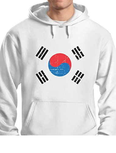 TeeStars - Vintage South Korea Flag Retro Style Hoodie Medium White
