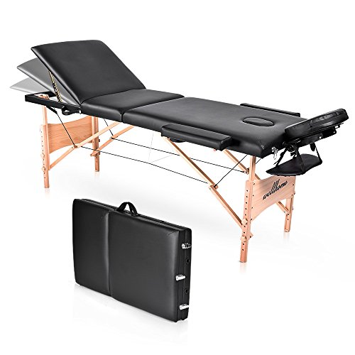 "Massage Table-WELLHOME Wood Treatment Table 3 Section Professional Portable Home Folding Facial SPA Tattoo Bed Black, Load up to 660 lbs,82"" × 23"",with Adjustable Face Cradle Carrying Case"