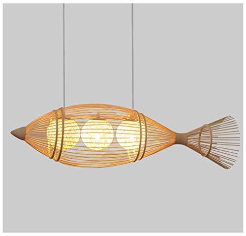 Light-S Bamboo Art Bamboo Pendant Light Chinese Restaurant Chandelier Handmade Bamboo Ceiling Lighting Creative Hotel Bamboo Fish Chandelier