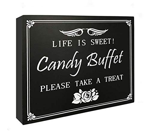 JennyGems Wood Wedding Party Sign Candy Buffet Life Is Sweet Please Take A Treat, Christmas Party, Holiday parties ()