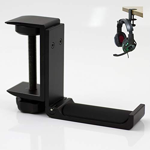 Foldable Clamp On Under Desk Headsets Holder, Fit for Large DJ Headphones Headband Width up to 2.5