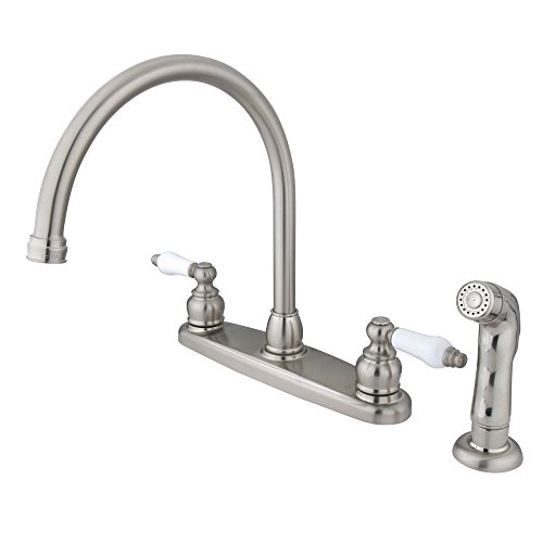 Kingston Brass KB728SP Vintage Gooseneck Kitchen Faucet with Oak Porcelain Handle and Sprayer, 8-3/4-Inch, Satin Nickel