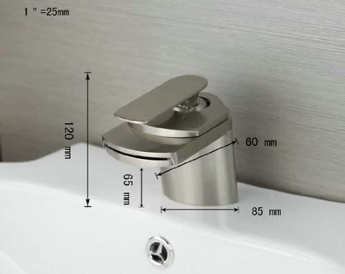 Waterfall Basin Faucet Brushed Nickel Finished Brass Bathroom Mixer R45510