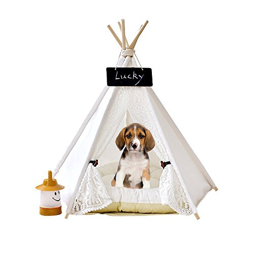 Zaihe Pet Teepee Dog & Cat Bed - Dog Tents & Pet Houses with Cushion & Blackboard, 28 Inch, Up to 30lbs, White, Lace Style