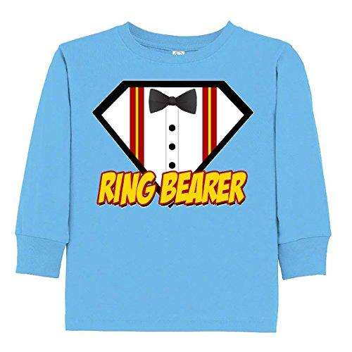 Inktastic - Ring Bearer Superhero Toddler Long Sleeve T-Shirt 3T Light (Superhero Ring Bearer)