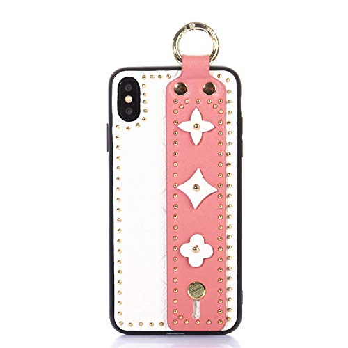 OEMDIY Case for iPhone Xs & iPhone X Leather Silicone Soft Phone Case Back Cover with Wrist Strap Stand for Apple iPhone Xs (2018) and iPhone X (2017) Cases 5.8 inch (White Pink)