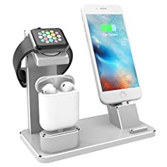 XUNMEJ 4 in 1 Apple Watch Charging Dock Serves as a holder and charging stand for your iPhone, iWatch, Airpods, keep your table clean and neat. Made of premium quality aluminum, sturdy and durable. Allows charging your phone with most case th...