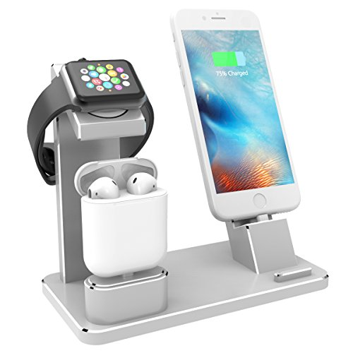 XUNMEJ Phone Charging Dock Aluminum 4 in 1 AirPods Charging Stand Accessories Station Holder for Apple Watch 4 3 2 1 AirPods Phone Xs X Max XR 7 7plus 6s 6plus iPad Mini (Silver)