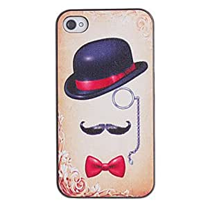 get Elegant Hat with Bowknot Pattern PC Hard Case with Black Frame for iPhone 4/4S