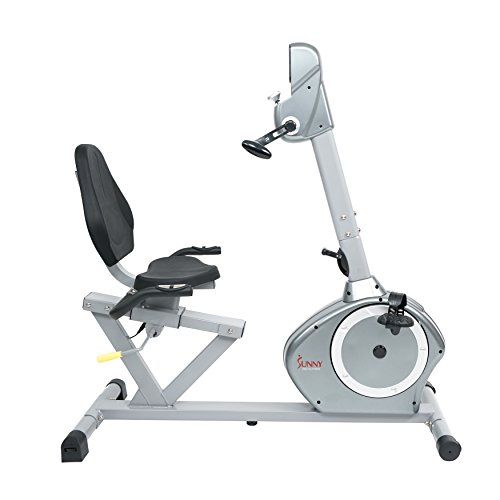 Sunny Health & Fitness Magnetic Recumbent Bike Exercise Bike, 350lb High Weight Capacity, Arm Exercisers, Monitor, Pulse Rate Monitoring SF RB4631