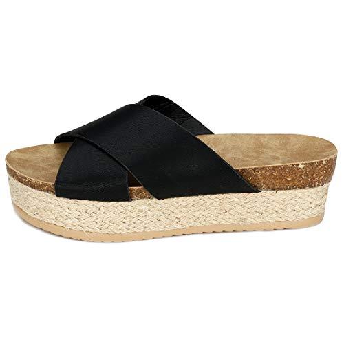 - Women\'s Platform Espadrilles Criss Cross Slide-on Studded Open Toe Summer Flat Slide Sandals (Black,7 M US)