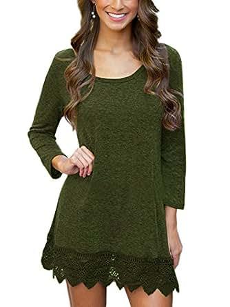 MiYang Women's Long Sleeve A-line Lace Stitching Trim Casual Dress XS Army Green