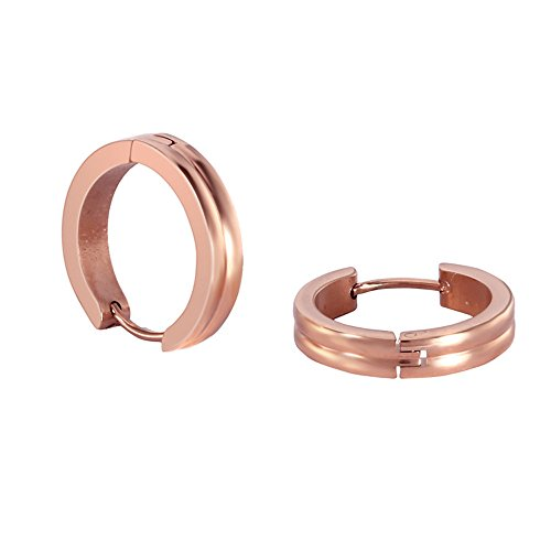 Stainless Steel Rose Gold Rounded 2 Layers Small Hoops Earrings for Womens Sensitive (Gold November Birthstone Earrings)