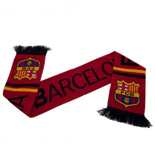 F.C. Barcelona Scarf ST- jacquard knit scarf- 100 % acrylic- approx 132cm x 19cm- on a header card- official licensed product