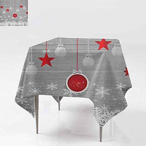 AndyTours Square Table Cloth,Christmas,Traditional Celebration Theme with Pendant Stars Baubles Ornate Snowflakes,Party Decorations Table Cover Cloth,54x54 Inch Grey Red White