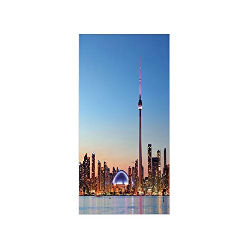 3D Decorative Film Privacy Window Film No Glue,Modern,Canadian Skyline Toronto City with Lake Panorama at Evening Urban Scenery Decorative,Light Blue Cinnamon,for Home&Office ()