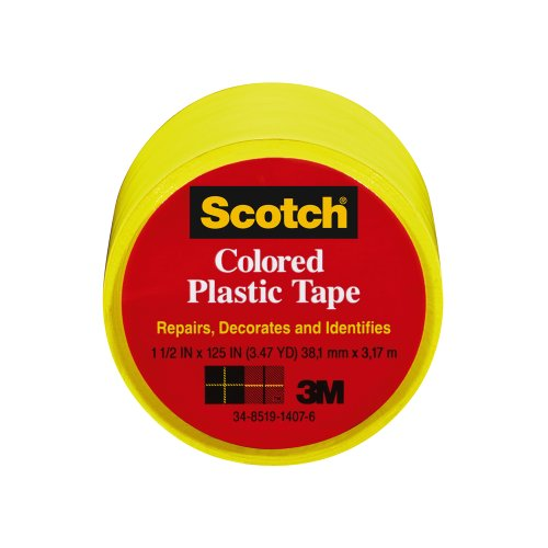 Scotch 191YL-6 Colored Plastic Tape, 1.5 x 125-Inch, Yellow
