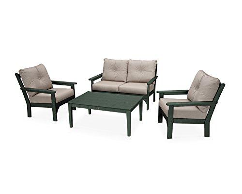 POLYWOOD Vineyard 4-Piece Deep Seating Set (Green/Cast ()