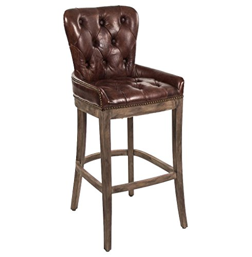 Kathy Kuo Home Ridley Rustic Lodge Tufted Brown Leather Bar Stool Review