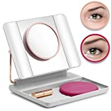 Spotlite HD Magnifying LED Lighted Makeup Vanity Mirror   Portable, Travel Friendly, Rechargeable with 1x 5x 10x Magnifications, by JUST OWN IT (50 SHADES)