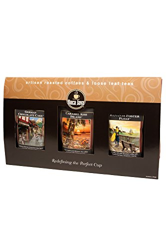 Decaf Dessert Lover's Flavored Coffee Gift, Includes German Chocolate Cake, Caramel Kiss Island & Bananas Foster Float Decaf Flavored Coffees, Ground, 8oz (Pack of 3) ()