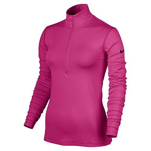 Nike Womens Womens Pro Warm Half-Zip Top, S, Pink