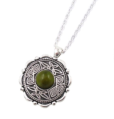 Irish Connemara Marble & Mullingar Pewter: Round Pendant Necklace