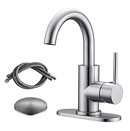 Admirable Rkf Single Handle Swivel Spout Bathroom Sink Faucet With Pop Up Drain With Overflow And Supply Hose Bar Sink Faucet Small Kitchen Faucet Tap Brushed Interior Design Ideas Helimdqseriescom