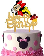 Gold Acrylic Minnie Mouse Inspired Happy Birthday Cake Topper, Minnie Mouse Cake Topper, Minnie Mouse Birthday Party Decoration, Girls Bday Party Favor