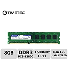 Timetec Hynix IC 8GB DDR3 1600MHz PC3-12800 Non ECC Unbuffered 1.35V/1.5V CL11 2Rx8 Dual Rank 240 Pin UDIMM Desktop PC Computer Memory Ram Module Upgrade (8GB)