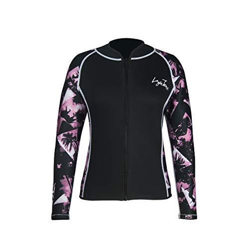 Layatone Wetsuits Top Women Men 3mm Neoprene Jacket Tops Diving Surfing Suit Rash Guard Long Sleeevs Front YKK Zipper Wet Suits Jacket Top Adults (Pink - Neoprene Sleeve,L) by Layatone