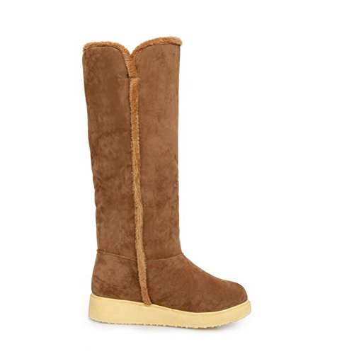 AgooLar Women's Round Closed Toe High-Top Low-Heels Solid Imitated Suede Boots Camel ze594irJ
