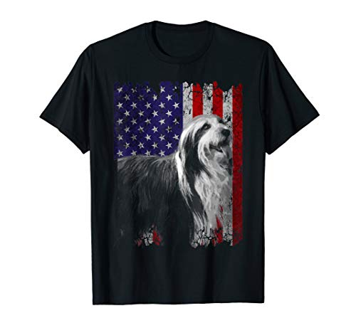 Patriotic Bearded Collie American Flag Shirt Dog Gifts