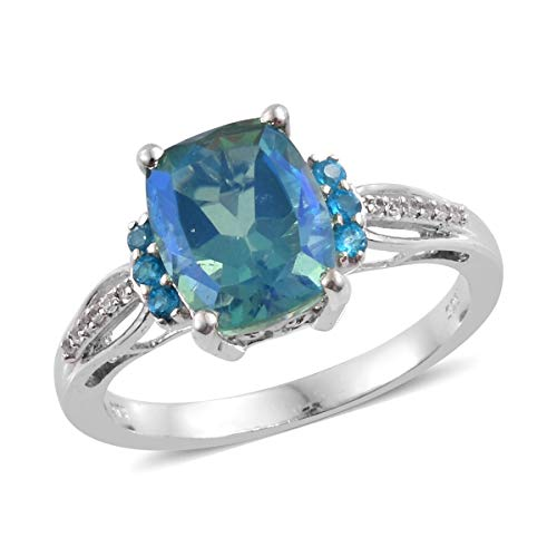 925 Sterling Silver Platinum Plated Peacock Quartz Neon Apatite Promise Ring for Women Cttw 4 ()