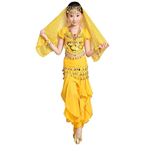 Pilot-trade Girl Veil&Top&pant&Belt&Bracelet Halloween Indian Belly Dance Costumes Yellow