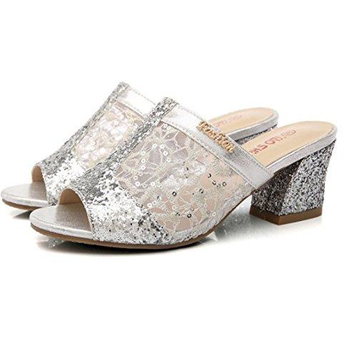 HAOYUXIANG Confort de Lady Fashion Cool Drag con sandalias de cuero suave cien zapatos de moda (Color : Gold leather, Tamaño : 34) Silver mesh