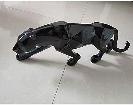 CCWDRZ Statue-Moderne Abstrait Noir Sculpture de panth/ère g/éom/étrique r/ésine Statue de l/éopard Faune d/écor Cadeau Artisanat Ornement Accessoires Blanc