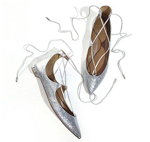 Del Dedo Puntiagudo Zapatos Pie GLTER Planos Silver Zapatos Corte Sandalias Mujer Pie Lentejuelas Sq4fwAT