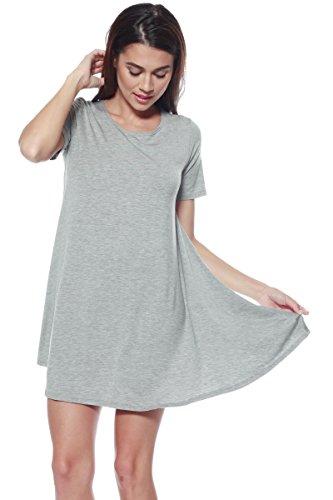 A+D Womens Loose Flowy Shortslv Crewneck Tunic Dress (S-3X) (Grey, Medium) (Baby Halter Doll Neck)