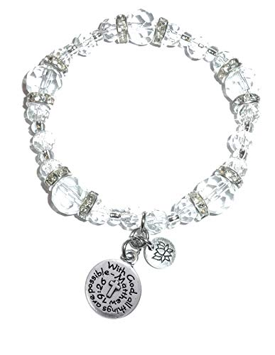 Hidden Hollow Beads Crystal Stretch Charm Bracelet, Women's Message Dangle, Comes Packaged in A Beautiful Gift Bag (with God All Things are Possible)]()