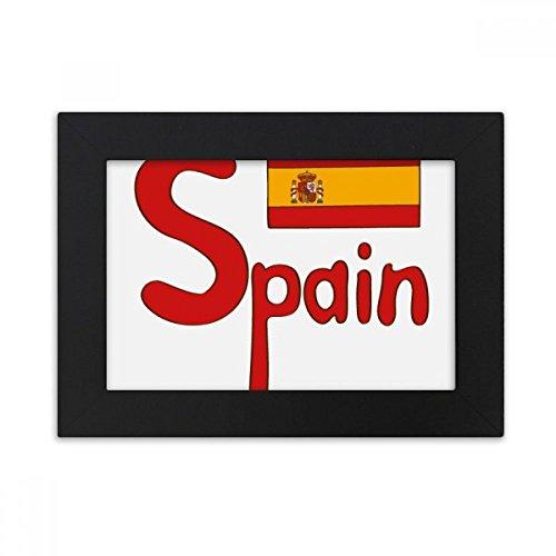 DIYthinker Spain National Flag Red Pattern Desktop Photo Frame Black Picture Art Painting 5x7 inch by DIYthinker