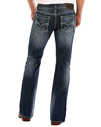 n's Relaxed Fit Reflex Pistol Straight Leg Mid Wash Western Jeans (36x34) ()