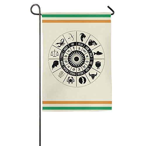 YusuiG Destiny'S Horoscope Signs Round Garden Flag Indoor Ou