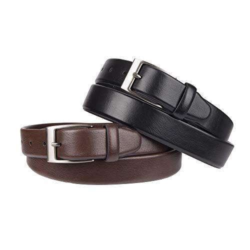 - Dockers Men's 2 Belts in a Box Gift Set, black/brown stretch, Large (40-42)