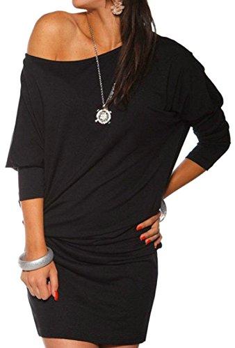 Taille Plus Les Femmes Cromoncent Une Épaule À Manches Longues T-shirt Robe De Noir