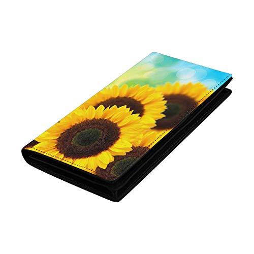 InterestPrint Women Clutch Purse, Card Holder Wristlets Wallets Sunflower and Bubbles
