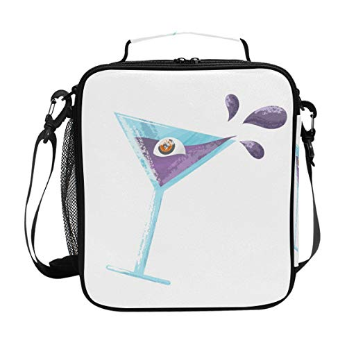 FAJRO Halloween Drink With Eye Lunch Tote Bag Insulated Thermal Cooler Lunch Bag -