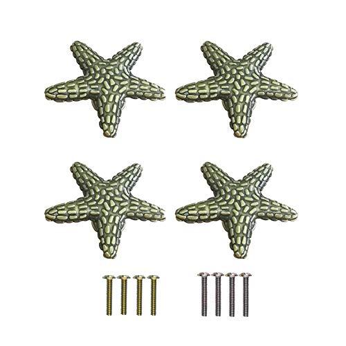 RUN 4 Pieces Creative Coastal Beach Ocean Theme Starfish Knobs Cabinet Drawer Single Hole Pulls Handles (Bronze) (Cabinets Coastal)